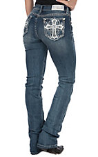Grace in LA Women's Bling Leather Cross Easy Fit Boot Cut Jeans