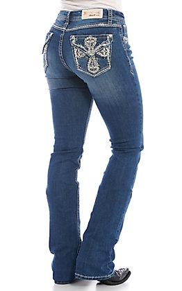 Grace in LA Women's Bling Cross Medium Wash Boot Cut Jeans