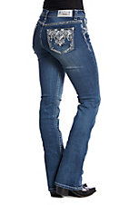 Grace in LA Women's Chevron Bling Medium Wash Boot Cut Jeans