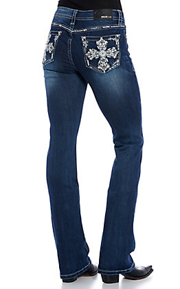 Grace in LA Easy Fit Women's Dark Wash Cross Embroidered Boot Cut Jeans
