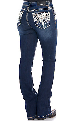 Grace in L.A. Women's Feather Embellished Boot Cut Jeans