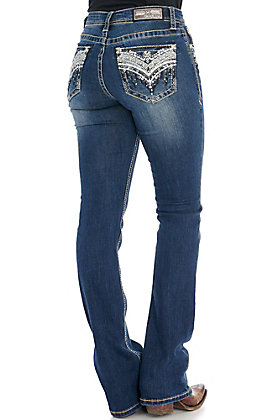 Grace in LA Women's Dark Wash Blingy Faux Flap Easy Fit Boot Cut Jeans