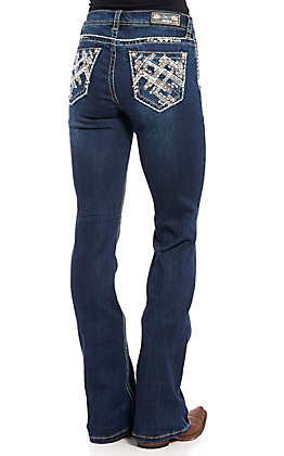 Grace in L.A. Women's Chevron Embroidered Boot Cut Jeans