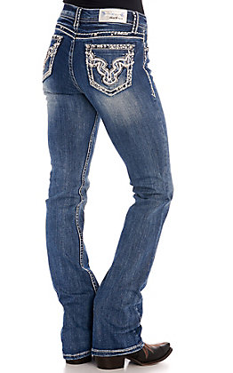 Grace in LA Women's Embroidery, Leather and Rhinestones Easy Fit Boot Cut Jeans