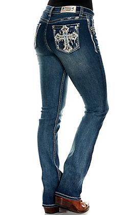 Grace in La Women's Medium Wash with Cross Design Easy Fit Boot Cut Jeans