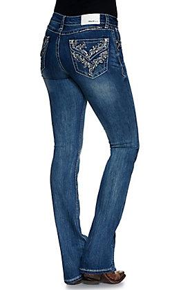 Grace in LA Women's Medium Wash Vine Embroidery Faux Flap Pockets Easy Fit Boot Cut Jean