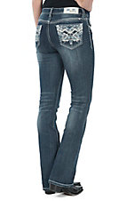 Grace in LA Women's Medium Wash Leather & Rhinestone Zig Zag Open Pocket Easy Boot Cut Jean
