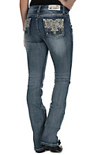 Grace in LA Women's Medium Wash Blue and Gold Embroidery Open Pockets Easy FIt Boot Cut Jeans