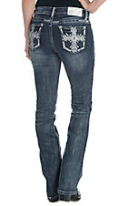 Grace in LA Women's Medium Wash with Embroidered Cross Open Pocket Boot Cut Jeans