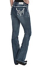 Grace in LA Women's Faded Dark Wash with White Swirl Embroidered Open Back Pocket Easy Fit Boot Cut Jeans