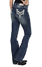 Grace in LA Women's Dark Wash with Peach and Silver Embroidery Open Pockets Easy Fit Boot Cut Jeans