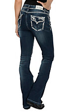 Grace in LA Women's Dark Wash Leafy Crystal Edge Flap Pocket Easy Fit Boot Cut Jeans