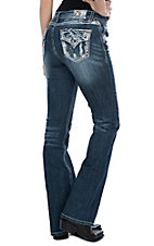 Grace in LA Women's Medium Wash Distressed Patchy Pocket Easy Fit Boot Cut Jeans