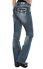 Grace in LA Women's Light Wash Stitched Edge Open Flap Pocket Easy Fit Boot Cut Jeans