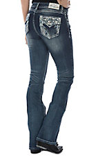 Grace in LA Women's Heavy Embroidered Easy Fit Boot Cut Jeans