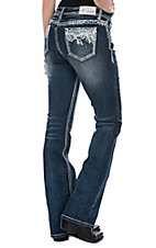 Grace in LA Women's Dark Wash Floral Pocket Easy Fit Boot Cut Jeans