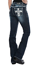 Grace in LA Women's Dark Wash Diamond Cross Easy Fit Boot Cut Jeans