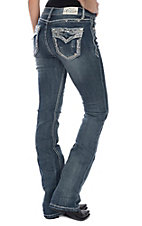 Grace in LA Women's Medium Wash Crystal Edge Open Flap Pocket Easy Fit Boot Cut Jeans
