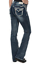 Grace in LA Women's Dark Wash Leafy Embroidered Open Flap Pocket Easy Fit Boot Cut Jeans