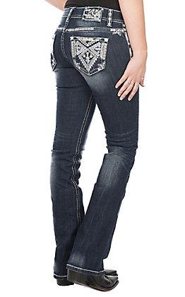 Grace in LA Women's Dark Wash Large Diamond Bling Cross Open Pocket Easy Fit Boot Cut Jeans