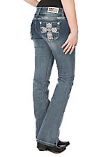 Grace in LA Women's Light Wash Bling Cross Open Pocket Easy Fit Boot Cut Jeans