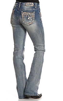 Grace in LA Women's Embroidered Feather Sequin Pocket Boot Cut Jeans