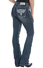 Grace in LA Women's Diamond Bling Dark Wash Boot Cut Jeans