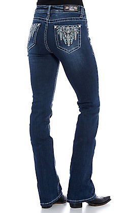 Grace in LA Easy Fit Women's Dark Wash Feather Embellished Boot Cut Jeans