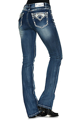 Grace in LA Women's Medium Wash Tribal Embroidery and Pearls Easy Fit Boot Cut Jean