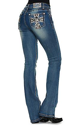 Grace in LA Women's Medium Wash Sequin Cross Easy Fit Boot Cut Jean