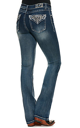 Grace in LA Women's Medium Wash Embroidered Faux Flap Pockets Boot Cut Jeans