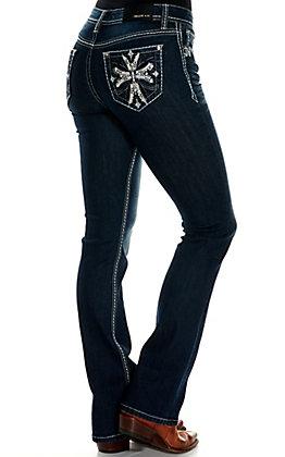 Grace in La Women's Dark Wash with Cross Design Easy Fit Boot Cut Jeans
