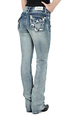 Grace in LA Women's Light Wash with Leather Paisley Flap Pocket Easy Fit Boot Cut Jean