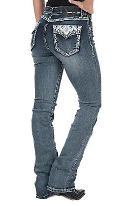 Grace in LA Women's Bling Aztec Embroidery Easy Fit Boot Cut Jeans