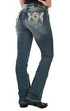 Grace in LA Women's Medium Wash Diamond Bling Pocket Easy Fit Boot Cut Jeans