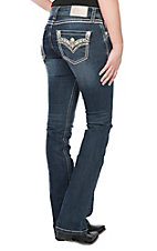 Grace in LA Women's Dark Wash Bling Edge Open Flap Pocket Easy Fit Boot Cut Jeans