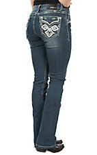 Grace in LA Women's Dark Wash Faux Flap Cross Pocket Boot Cut Jeans