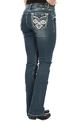 Grace in LA Women's Dark Wash Faux Flap Cross Pocket Boot Cut Jeans