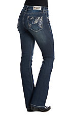 Grace in LA Women's Feather Dark Wash Boot Cut Jeans