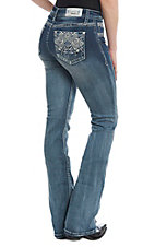 Grace in LA Diamond Bling Light Wash Boot Cut Jeans