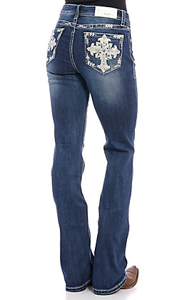Grace in L.A. Women's Cross Embroidered Boot Cut Jeans