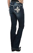 Grace in LA Women's Dark Wash with Leather Embroidered Cross Open Pocket Easy Fit Boot Cut Jeans