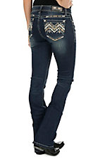 Grace in LA Women's Faded Dark Wash with Tan Zig Zag Embroidery Open Pocket Boot Cut Jeans