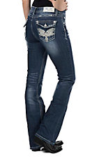 Grace in LA Women's Dark Wash with White Embroidered Open Pocketswith Fake Flap Easy Fit Boot Cut Jeans