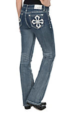 Grace in LA Women's Dark Wash with White Cross Embroidered Open Pockets Easy Fit Boot Cut Jeans