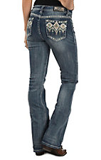 Grace in LA Women's Medium Wash Diamond Embroidered Boot Cut Jeans