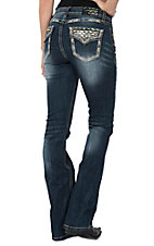Grace in LA Women's Dark Wash Bronze Sequin Flap Pocket Easy Fit Boot Cut Jeans