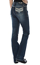 Grace in LA Women's Tribal Stitch Easy Fit Boot Cut Jeans
