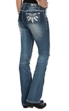 Grace in LA Women's Feathers on Open Pockets Easy Fit Boot Cut Jeans