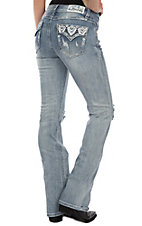 Grace in LA Women's Light Wash Tribal Flap Pocket Easy Fit Boot Cut Jeans